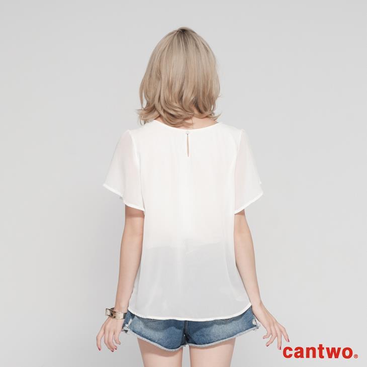cantwo雪紡蕾絲假兩件上衣(共二色) 3