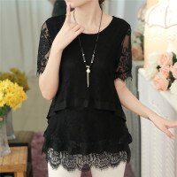 蕾絲雪紡衫寬鬆短袖T恤  - ORead 自由風格