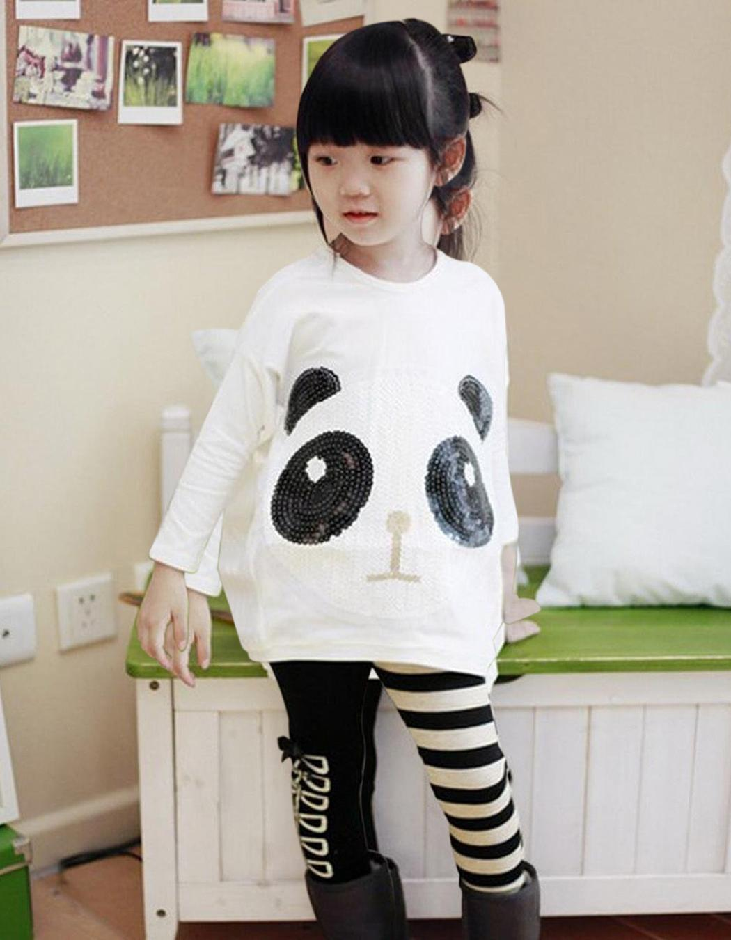 Baby Girl Batwing Animal Printed T-shirt Top and Striped Pants Sets 1