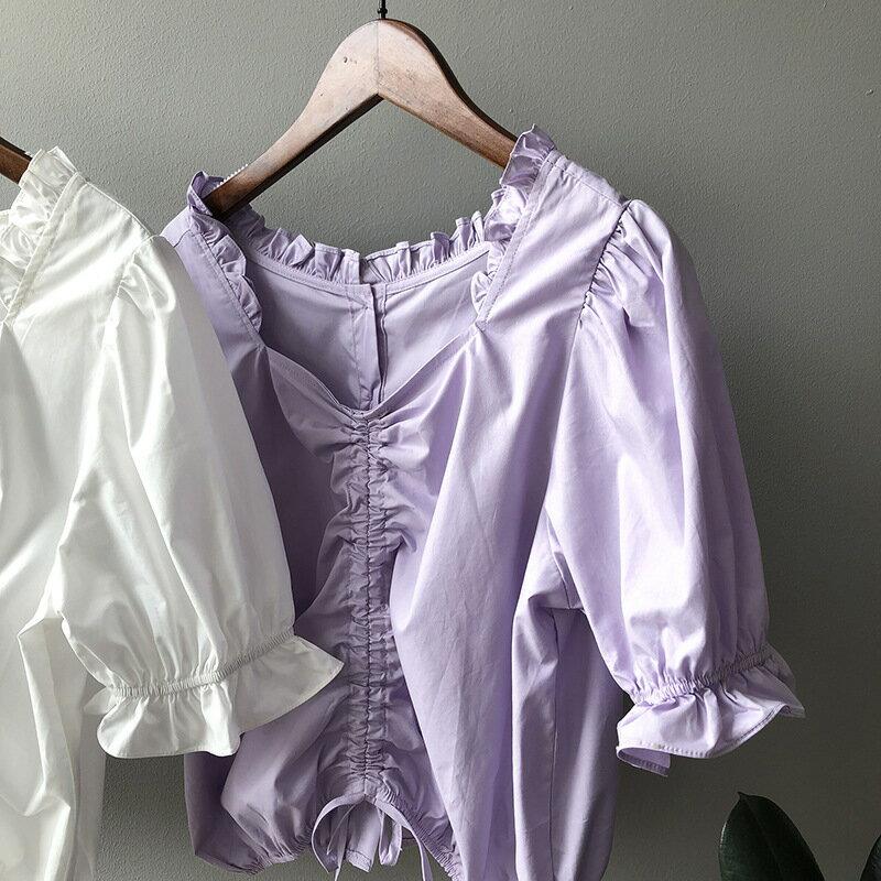 2021春夏季款短袖方領娃娃衫女法式宮廷風泡泡袖短款上衣