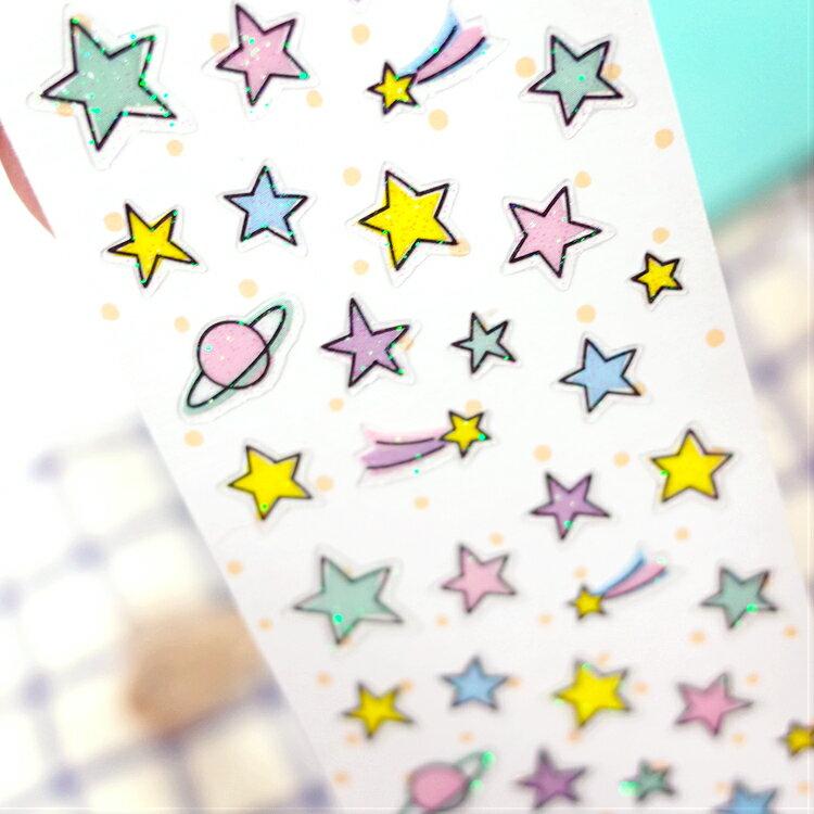 PGS7 拍立得 裝飾貼紙 - 日本 星球 Planet 星星 Star 裝飾 貼紙 手帳 日記 卡片【SHJ7166】