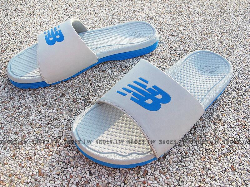 Shoestw【M3068GBL】NEW BALANCE 拖鞋 NB大LOGO 淺灰藍 運動拖鞋 男女尺寸都有