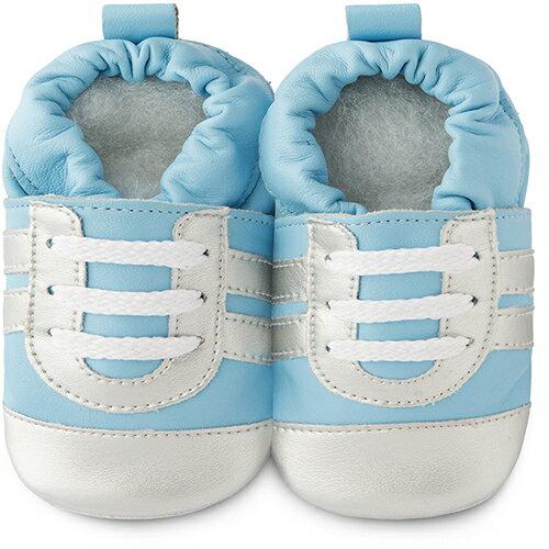 【hella 媽咪寶貝】英國 shooshoos 安全無毒真皮手工鞋/學步鞋/嬰兒鞋 藍銀運動型 101036 (公司貨)