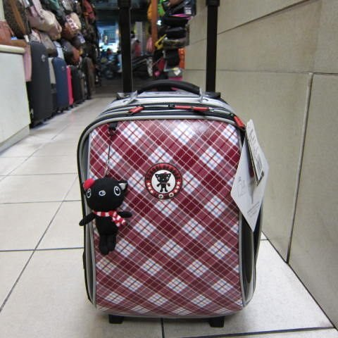 ~雪黛屋~UNME造型拉桿背包 台灣精品製個人拉桿燈機行李箱 拉桿書包旅行上學工作#3328 紅格