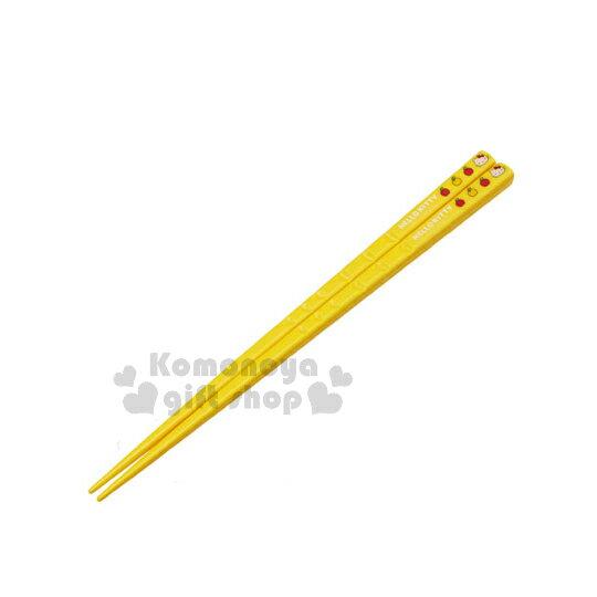 〔小禮堂〕Hello Kitty 美耐皿筷子《黃.多蘋果.大臉》全長21cm