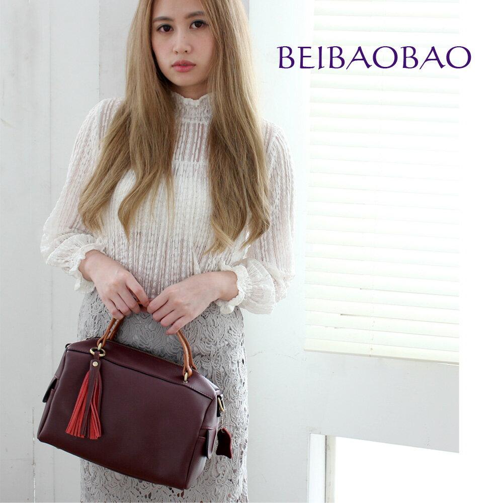 【BEIBAOBAO】法式甜美流蘇真皮側背包(共三色 甜酒紅) 0