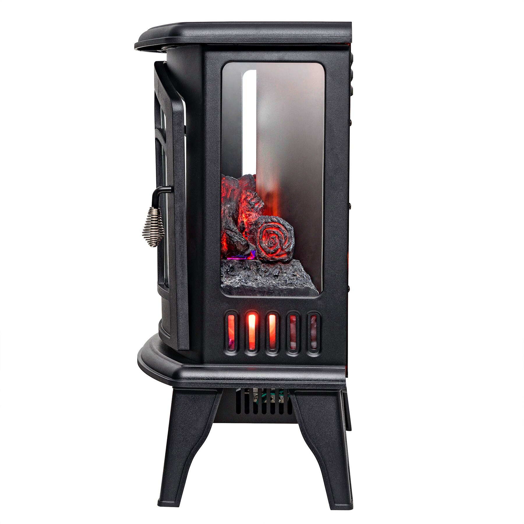 "AKDY 20"" Black Finish Freestanding Portable Electric Fireplace Firebox w/ Logs & Remote 4"