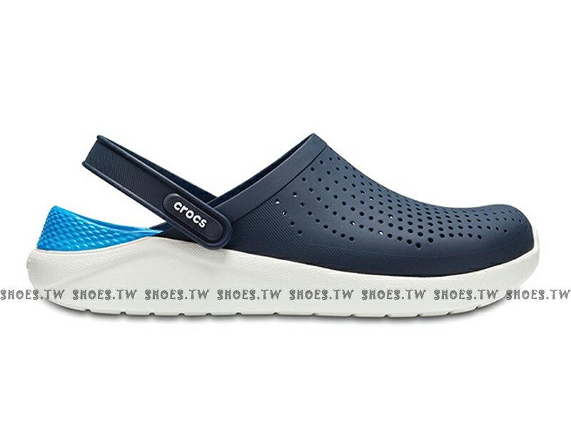 Shoestw【204592-462】CROCS Lite Ride 卡駱馳 鱷魚 輕便鞋 拖鞋 涼鞋 深藍水藍 中性款 男生尺寸 2