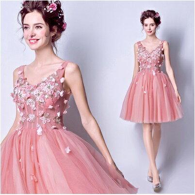 天使嫁衣【AE1863】胭脂粉花園公主馬甲收腰短禮服˙預購訂製款