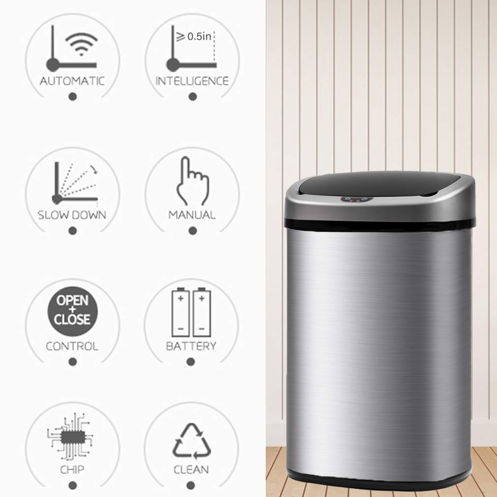 13-Gallon Touch-free Sensor Automatic Stainless Steel Trash Can - Stainless  Steel