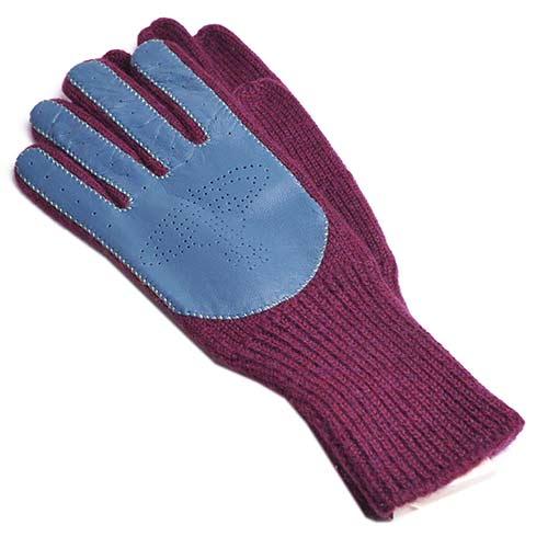 Vivienne Westwood 行星LOGO皮革羊毛手套(酒紅/藍)