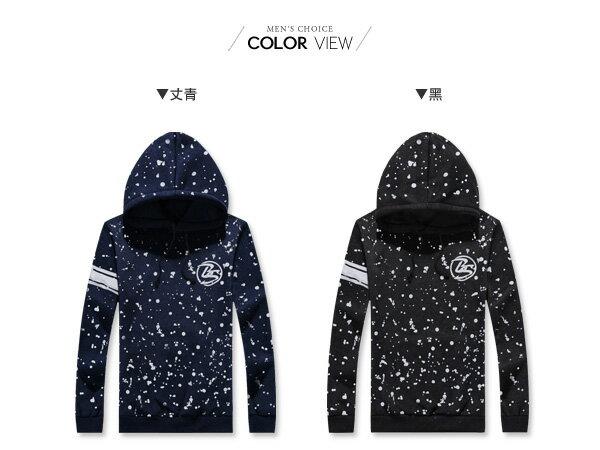 ☆BOY-2☆ 【NC0553】潑漆條紋刷毛連帽T恤 1