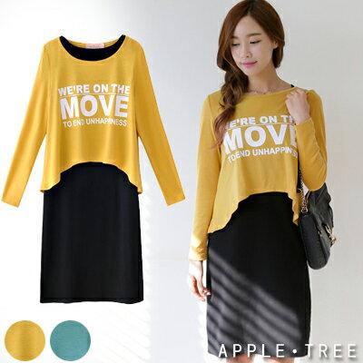 ~專區88元起~AppleTree日韓~字母休閒兩件套連身裙裝 黃色S~XL~402034