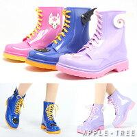 雨靴、雨鞋推薦到AT日韓-奇幻世界!立體卡通圖案繫帶馬丁雨靴3色(蝙蝠/獨角獸/玉兔)【S501004】就在蘋果樹AppleTree推薦雨靴、雨鞋