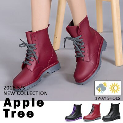 AT日韓-霧面感PVC馬丁雨鞋,低筒雨靴3色【S604004】 0