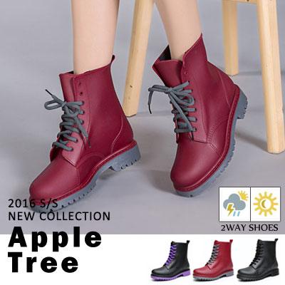 AppleTree日韓-霧面感PVC馬丁雨鞋,低筒雨靴3色【S604004】