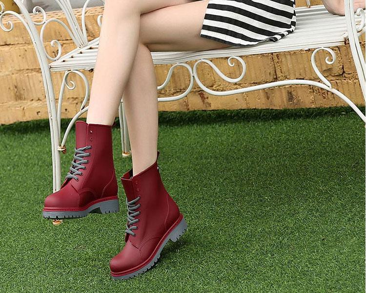 AppleTree日韓-霧面感PVC馬丁雨鞋,低筒雨靴3色【S604004】 2