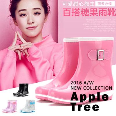 AT日韓~糖果色側釦裝飾果凍雨靴 短跟雨鞋4色 可加購冬天襪套 ~S609002~