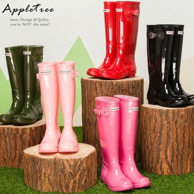 AppleTree日韓-亮面質感英倫側釦雨靴,女雨鞋6色【S702001】