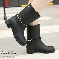 雨靴、雨鞋推薦到AT日韓-釦環裝飾機車靴型中筒雨靴【S702003】就在蘋果樹AppleTree推薦雨靴、雨鞋