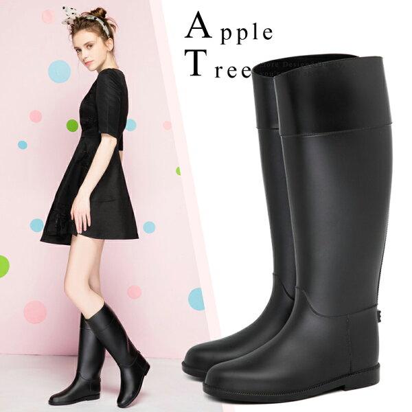 蘋果樹AppleTree:★2018新品優惠價★AT日韓-仿皮馬靴高筒雨靴,雨鞋【S801001】