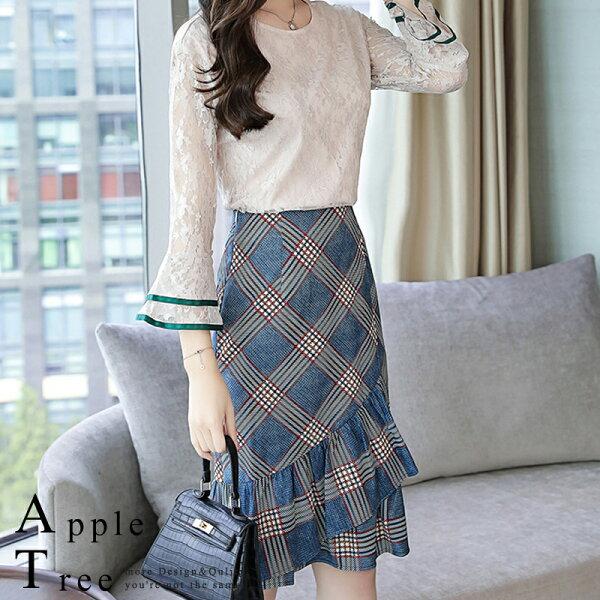 *特價回饋599*AT日韓-蕾絲上衣X格子魚尾裙,兩件成套【809012】