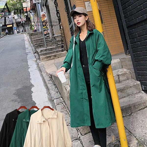 AT日韓-韓系,長版腰抽繩拉鍊工裝風衣外套3色【809034】