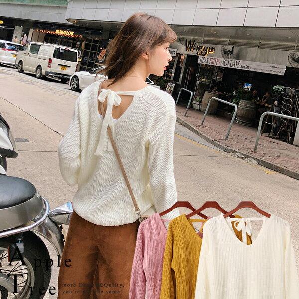 AT日韓-韓系,V字領後綁帶毛衣3色【809035】