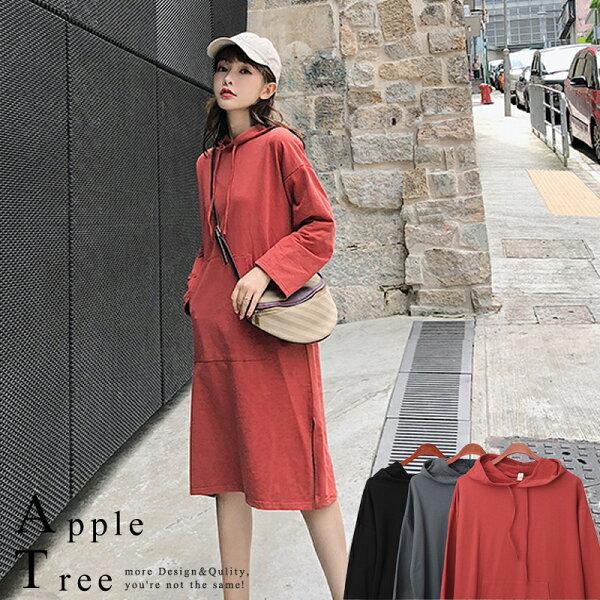AT日韓-韓系,素色長版連帽T恤,衛衣3色【809038】