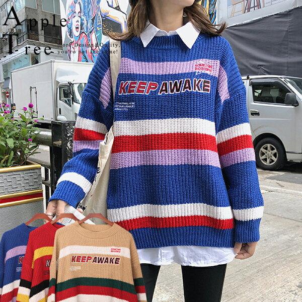 AT日韓-韓系,彩色條紋慵懶風毛衣3色【809040】