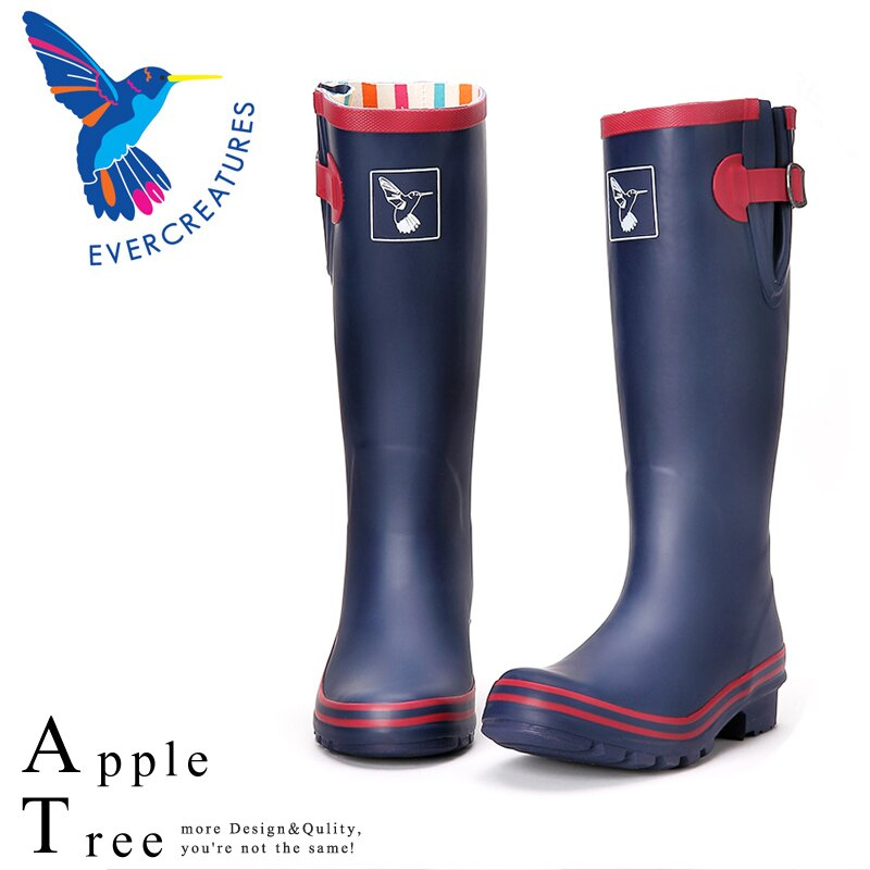AT日韓-英國品牌雨鞋,藍色紅邊高筒雨靴馬靴【S809003】 0