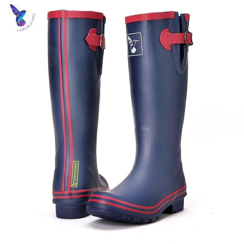 AT日韓-英國品牌雨鞋,藍色紅邊高筒雨靴馬靴【S809003】 2