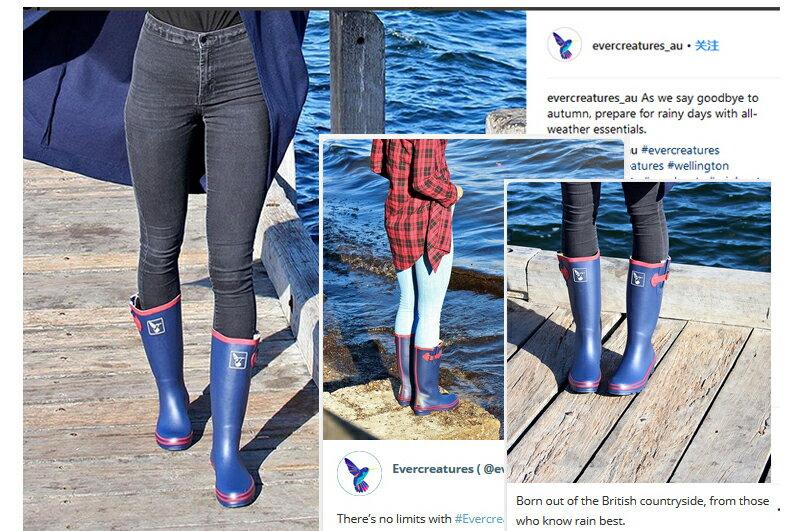 AT日韓-英國品牌雨鞋,藍色紅邊高筒雨靴馬靴【S809003】 3