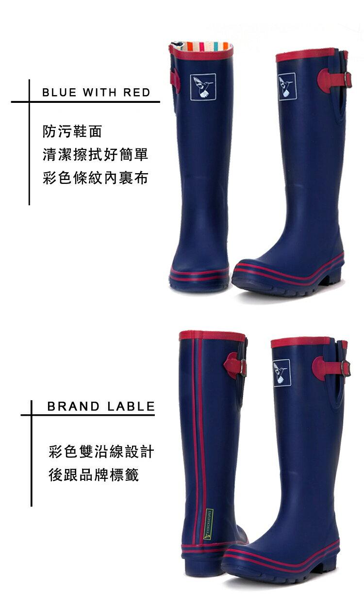 AT日韓-英國品牌雨鞋,藍色紅邊高筒雨靴馬靴【S809003】 5