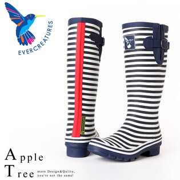 AT日韓-英國品牌雨鞋,斑馬條紋高筒雨靴馬靴【S809005】