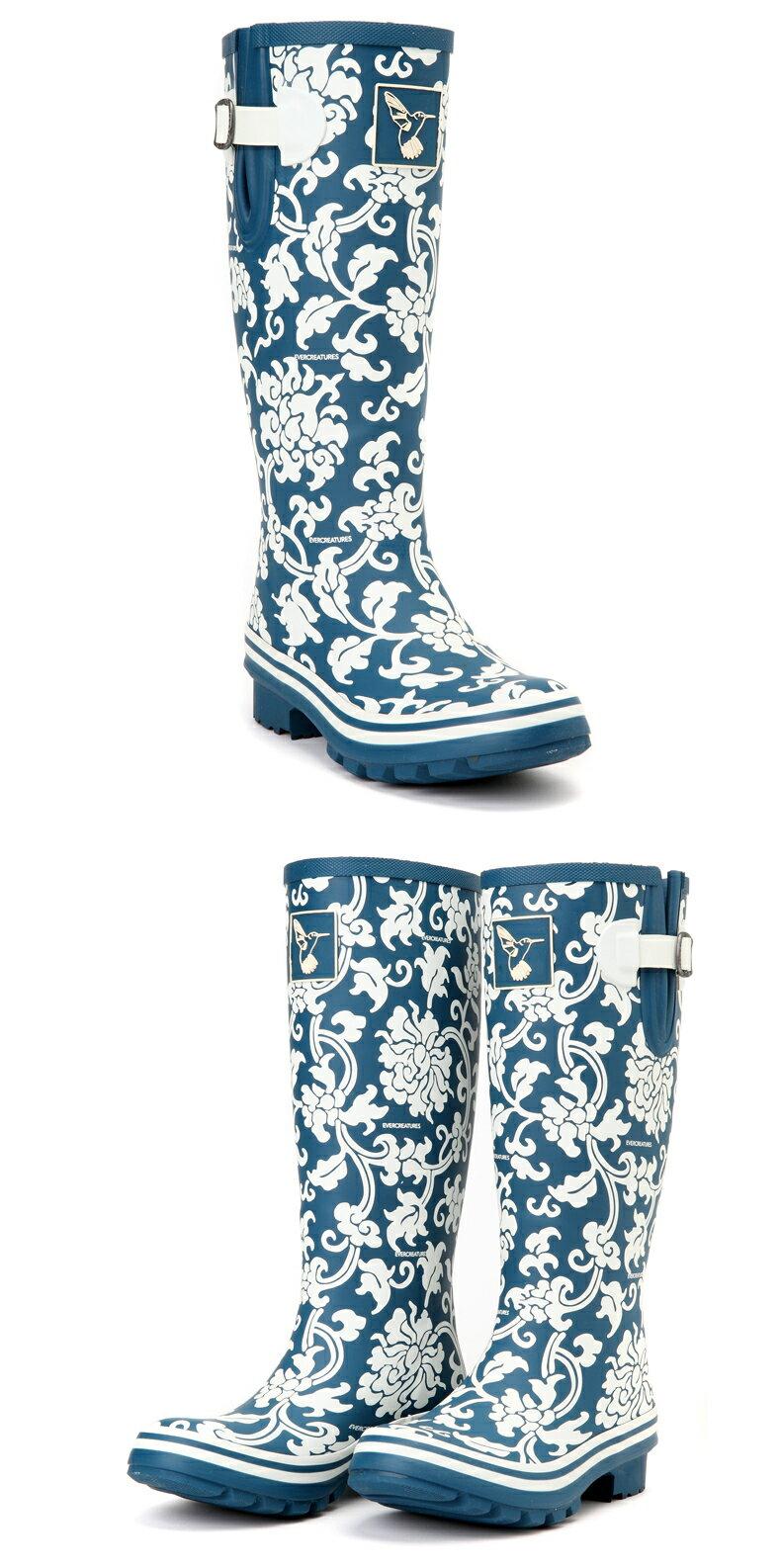 AT日韓-英國品牌雨鞋,青花瓷紋高筒雨靴馬靴【S809006】 2