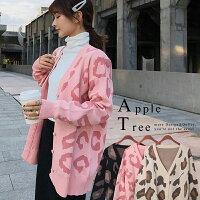針織外套推薦到AT日韓-韓國中長版網紅款豹紋針織外套3色【810044】就在蘋果樹AppleTree推薦針織外套