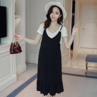 美琪春夏新款韓版한국어버전時尚孕婦裝兩件套連衣裙背帶裙+T恤套裝