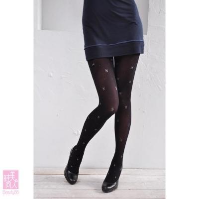 17653 日本雜誌款◎蝴蝶結銀◎圖騰褲襪
