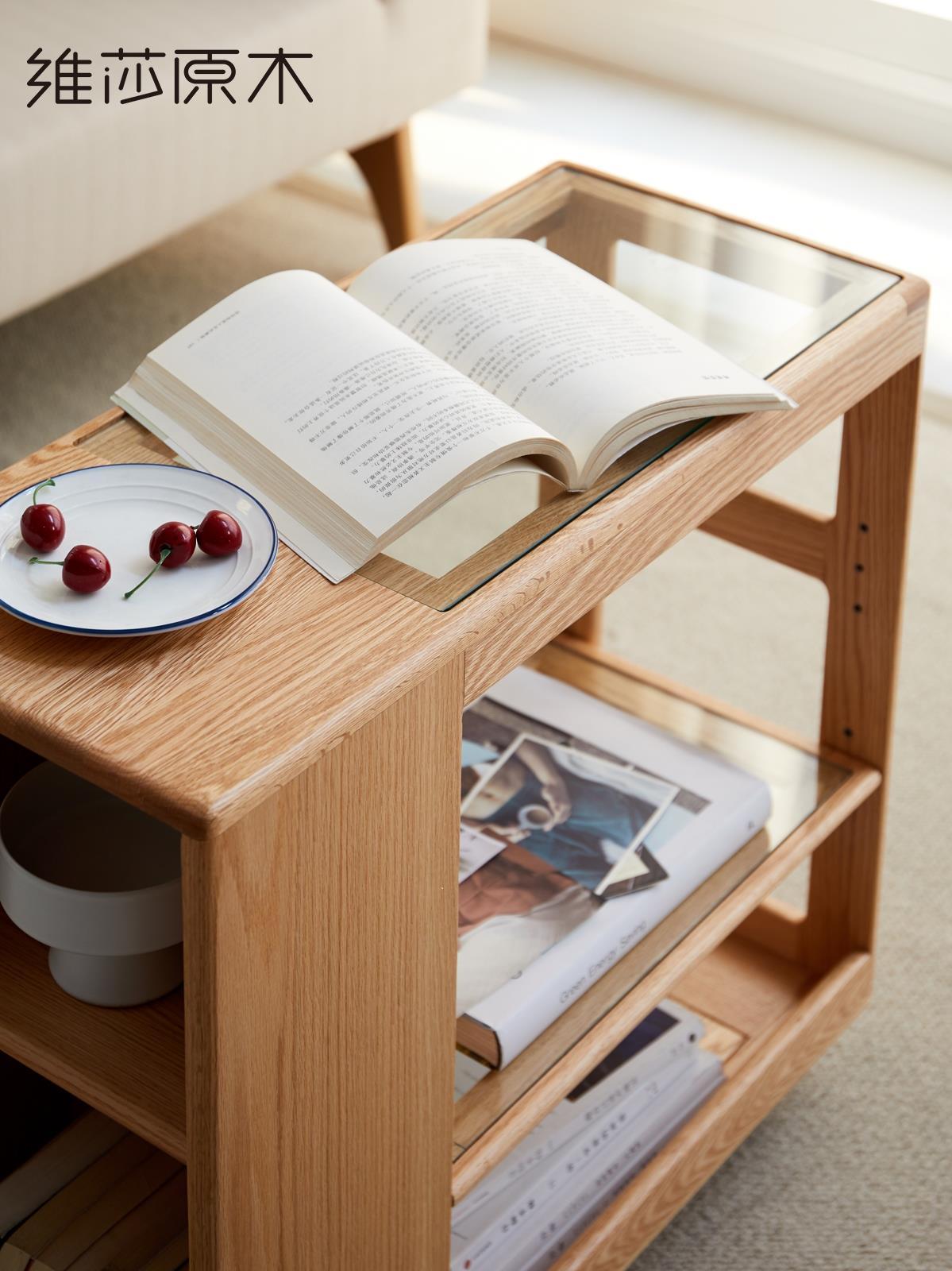 北歐沙發邊幾實木現代簡約客廳創意長條可移動邊幾家用茶臺柜♠極有家♠