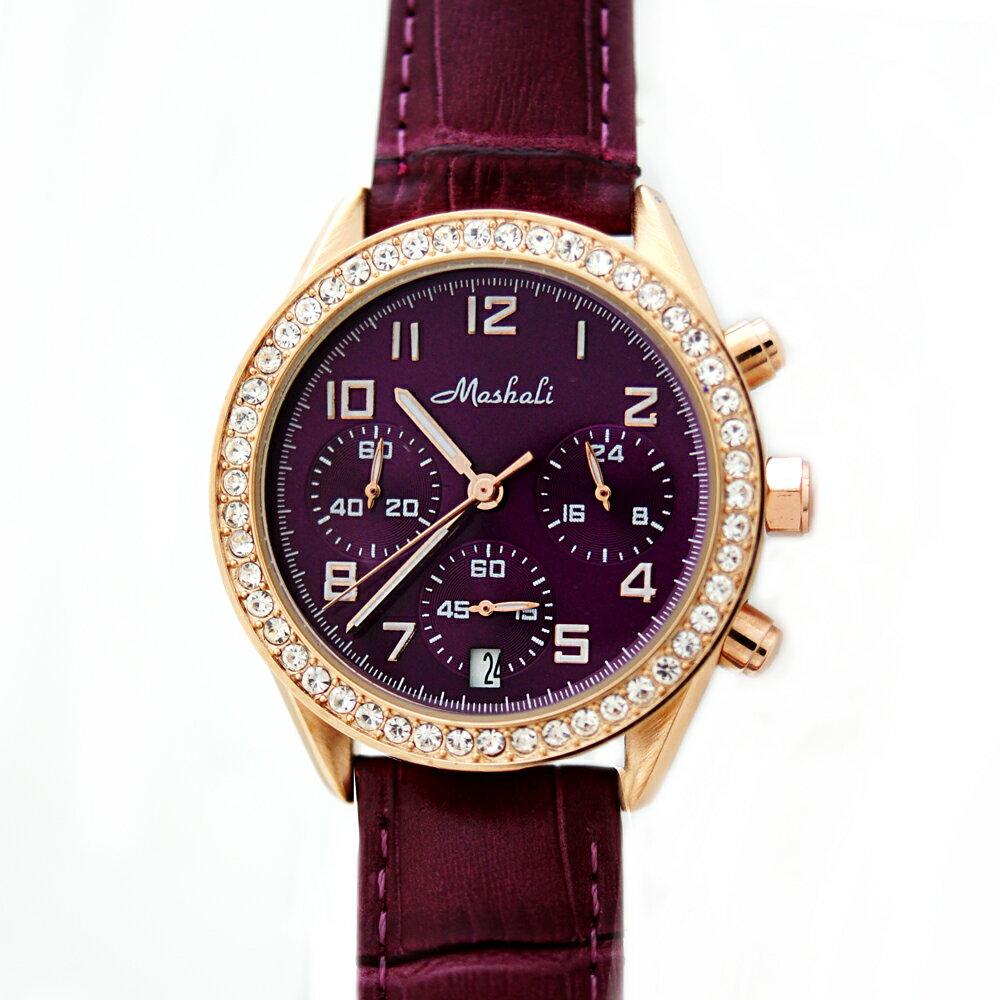 Mashali 88091 時尚滾鑽錶盤多功能真三眼皮帶錶 2