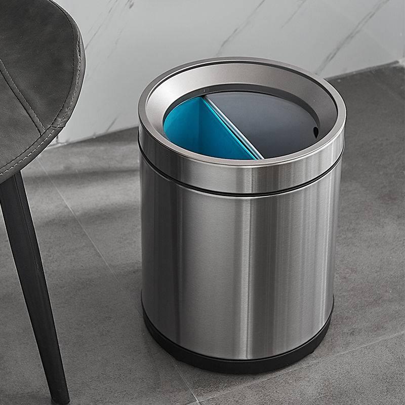 無蓋金屬垃圾桶 雙桶乾濕分離 垃圾分類 家用客廳廚房創意 衛生間簡約免腳踏不銹鋼分類垃圾桶紙簍