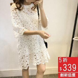 Missyoyo 韓版性感鏤空蕾絲?花連身裙洋裝(附內搭襯裙)【B07895】-預購
