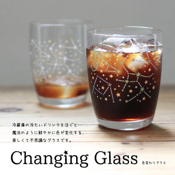 【醉愛·日本】日本製變色玻璃杯~星空圖x1+花火(煙火)圖x1