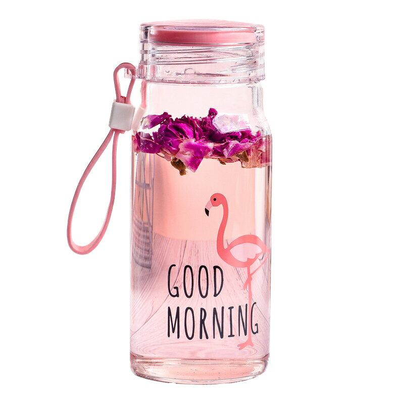帶提繩玻璃小水瓶 小清新玻璃杯 便攜玻璃杯 隨身杯子 耐熱玻璃杯 圖案隨機【HC022】99750走走去旅行 1