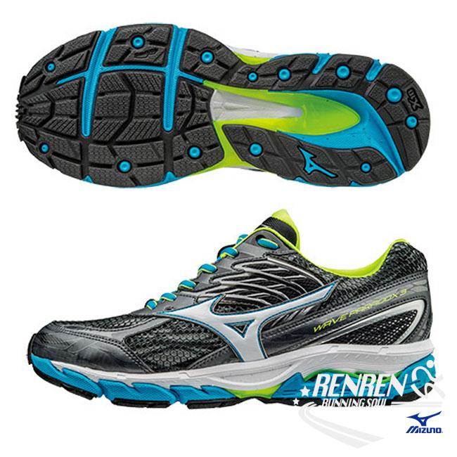 美津濃 MIZUNO 男慢跑鞋 (黑/藍) WAVE PARADOX 3 扁平足專用鞋款【 胖媛的店 】