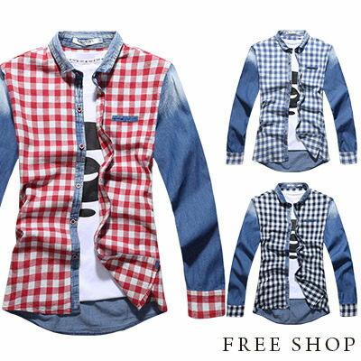 Free Shop【QR20321】日韓雅痞簡約小格紋拼布刷白水洗丹寧設計牛仔襯衫長袖襯衫‧三色