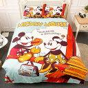 【名流寢飾家居館】迪士尼米奇米妮.甜蜜野餐.特大雙人鋪棉床包組兩用鋪棉被套全套