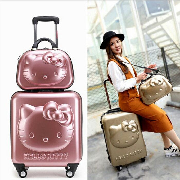 糖衣子輕鬆購【DZ0172】日本雜誌Hello kitty 萬向輪旅行箱登機箱 可愛拉杆箱18寸行李箱