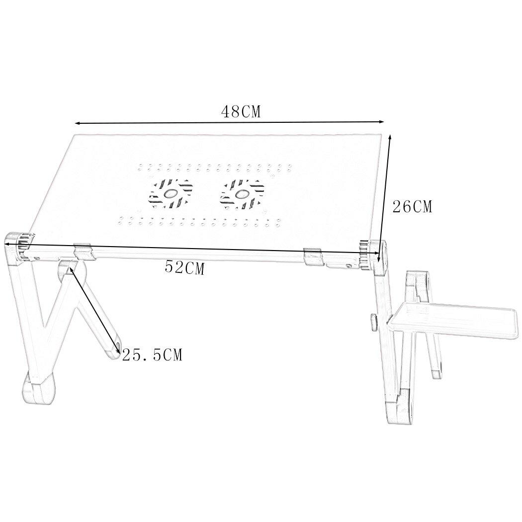 Foldable Aluminium Dual Cooler Fans Laptop Table Portable Notebook PC Desk Book Stand Holder 9